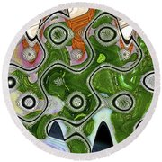 Some Pink And Green Abstract Round Beach Towel
