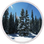 Some Where In Colorado Round Beach Towel