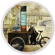 Round Beach Towel featuring the photograph Somerset House Cart Bicycle by Craig J Satterlee