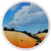 Something About Clouds, Panel 3 Round Beach Towel