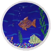 Round Beach Towel featuring the painting Something Fishy by Kevin Caudill