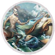 Something Fowl Afloat 2b Round Beach Towel by Patrick Anthony Pierson