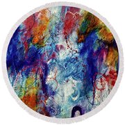 Round Beach Towel featuring the painting Something Wild by Tracy Bonin