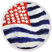 Something's Wrong With America Round Beach Towel
