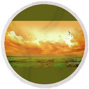 Somewhere In Africa Round Beach Towel by Charuhas Images