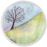 Round Beach Towel featuring the painting Somewhere In California by Kristen Fox