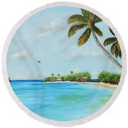 Somewhere In Paradise Round Beach Towel