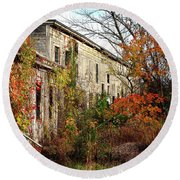 Somewhere In Rhode Island - Abandoned Mill 001 Round Beach Towel by Lon Casler Bixby