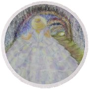 Round Beach Towel featuring the painting Somewhere In Time by Lyric Lucas