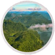 Round Beach Towel featuring the photograph Over Alaska - June  by Madeline Ellis