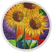Sonflowers I Round Beach Towel by Holly Carmichael