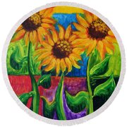 Round Beach Towel featuring the painting Sonflowers II by Holly Carmichael