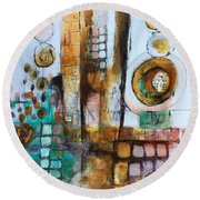 Song Round Beach Towel by Karin Husty