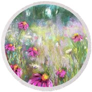 Song Of The Flowers Round Beach Towel