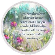 Song Of The Flowers With Bible Verse Round Beach Towel