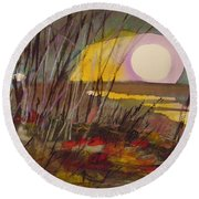Round Beach Towel featuring the painting Song To The Moon by John Williams