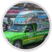 Round Beach Towel featuring the photograph Songthaew Minibus by Antony McAulay