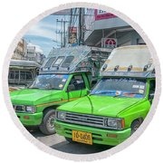 Round Beach Towel featuring the photograph Songthaew Taxi by Antony McAulay