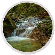 Round Beach Towel featuring the photograph Sonoma Valley Creek by Bill Gallagher