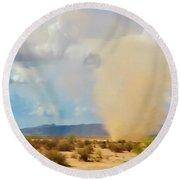 Sonoran Desert Dust Devil Round Beach Towel