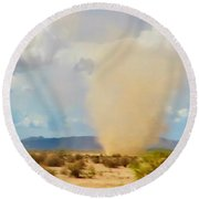 Sonoran Desert Dust Devil Round Beach Towel