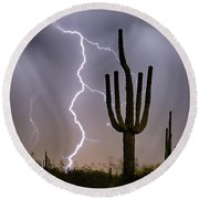 Round Beach Towel featuring the photograph Sonoran Desert Monsoon Storming by James BO Insogna