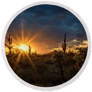 Round Beach Towel featuring the photograph Sonoran Gold At Sunset  by Saija Lehtonen