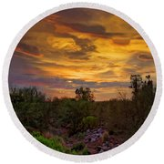 Round Beach Towel featuring the photograph Sonoran Sonata H01 by Mark Myhaver