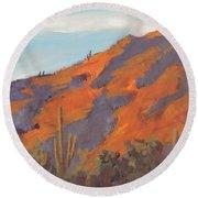 Sonoran Sunset - Art By Bill Tomsa Round Beach Towel