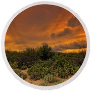 Round Beach Towel featuring the photograph Sonoran Sunset H4 by Mark Myhaver