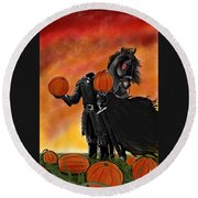 Soon It Will Be All Hallows' Eve Round Beach Towel