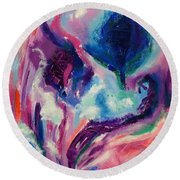 Round Beach Towel featuring the painting Soothing  Garden by Diane Pape