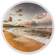 Soothing Seaside Scene Round Beach Towel