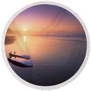 Sopelana Beach With Surfboards On The Shore Round Beach Towel