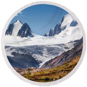 Sophia Glacier. Altai Round Beach Towel by Victor Kovchin