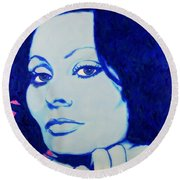 Sophia Loren Pop Art Portrait Round Beach Towel