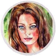 Sophia Loren Portrait Round Beach Towel