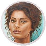 Sophia Loren Round Beach Towel