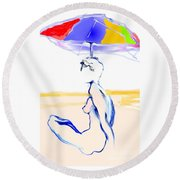Sophi's Umbrella #2 - Female Nude Round Beach Towel