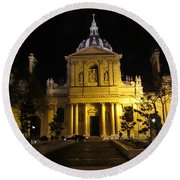 Round Beach Towel featuring the photograph Sorbonne Night by Christopher Kirby