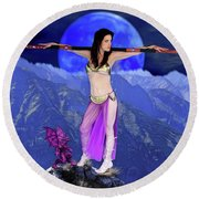 Sorceress And Her Familar Round Beach Towel