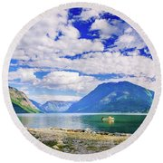 Round Beach Towel featuring the photograph Soreimsfjorden by Dmytro Korol