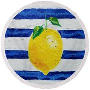 Round Beach Towel featuring the painting Sorrento Lemon by Judith Rhue