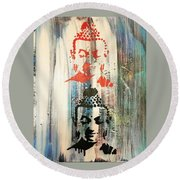Round Beach Towel featuring the painting Surround U by Jayime Jean