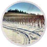 Soter Vineyard Winter Round Beach Towel by Jerry Sodorff
