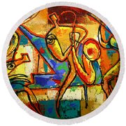 Soul Jazz Round Beach Towel