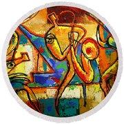 Soul Jazz Round Beach Towel by Leon Zernitsky