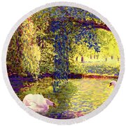 Swans, Soul Mates Round Beach Towel