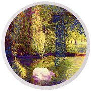 Round Beach Towel featuring the painting Swans, Soul Mates by Jane Small
