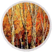 Round Beach Towel featuring the painting Soul Of The Earth by Tatiana Iliina
